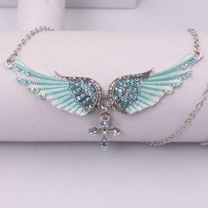 Jewelry - Rhinestone Angel Wing/Cross Necklace